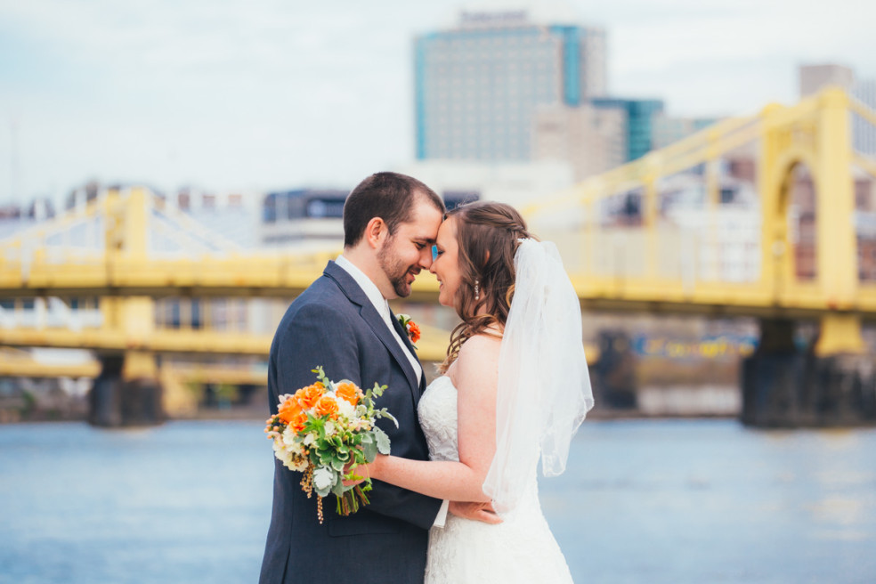 Wedding photos at the riverwalk in Downtown Pittsburgh