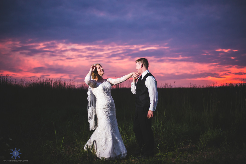 Wedding night shot in middle of field