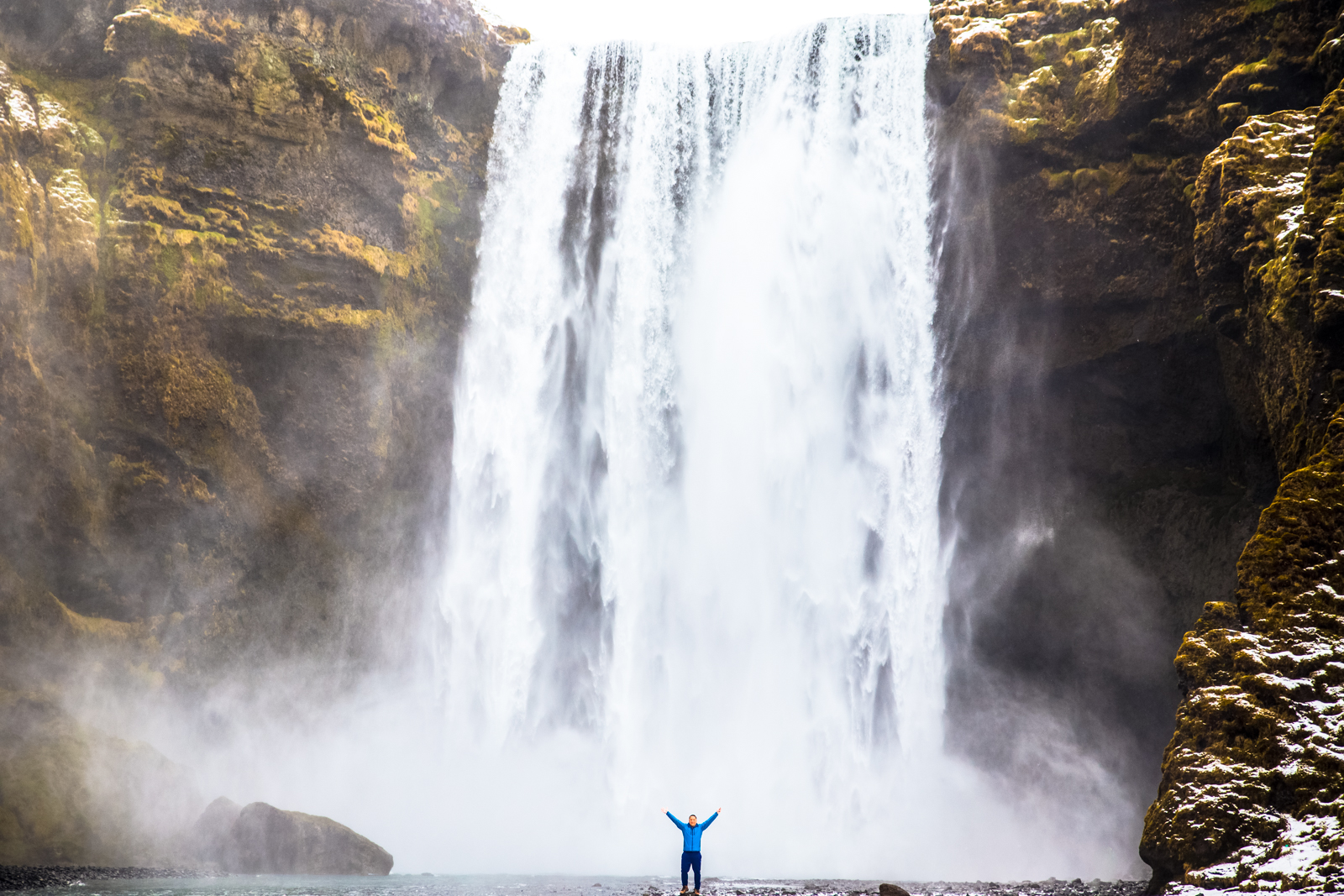 Tiny Manny, big waterfall.
